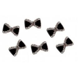 Mašle černá s kamínky 3D zdobení 1ks