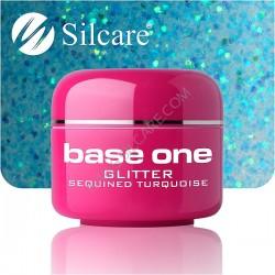 UV gel Base One Glitter 5 ml - Sequined turquoise