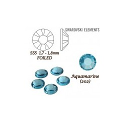 SWAROVSKI ELEMENTS velikost SS5 barva AQUAMARINE (202). Balení 45Ks