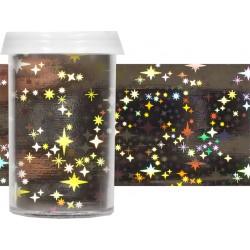 TRANSFER FOIL - nailartová dekorační folie 2m Hvězdy stříbrná