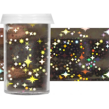 TRANSFER FOIL - nailartová dekorační folie 1,5m Hvězdy stříbrná